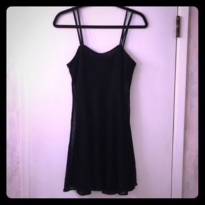 VTG 90s Dark Blue Metallic Mesh Mini Dance Dress